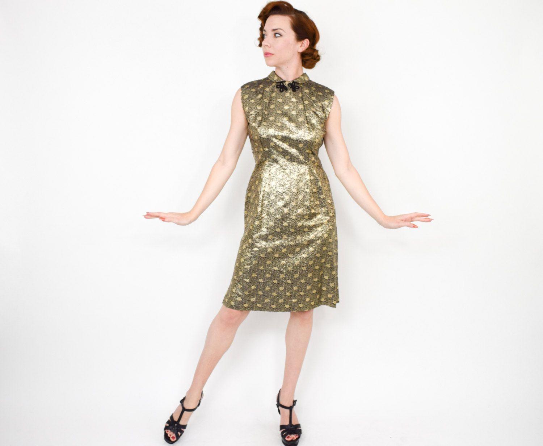 50s Metallic Gold Sheath Dress   Sleeveless Party Evening   Medium ...