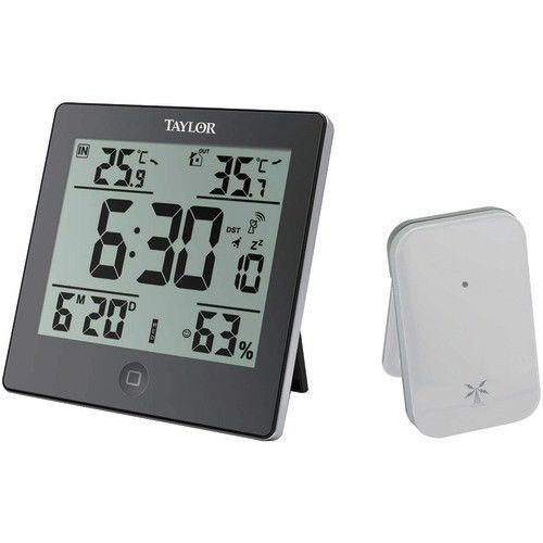 Taylor Indoor Outdoor Wired Thermometer Humidity Clock Memory Fahrenheit Celsius
