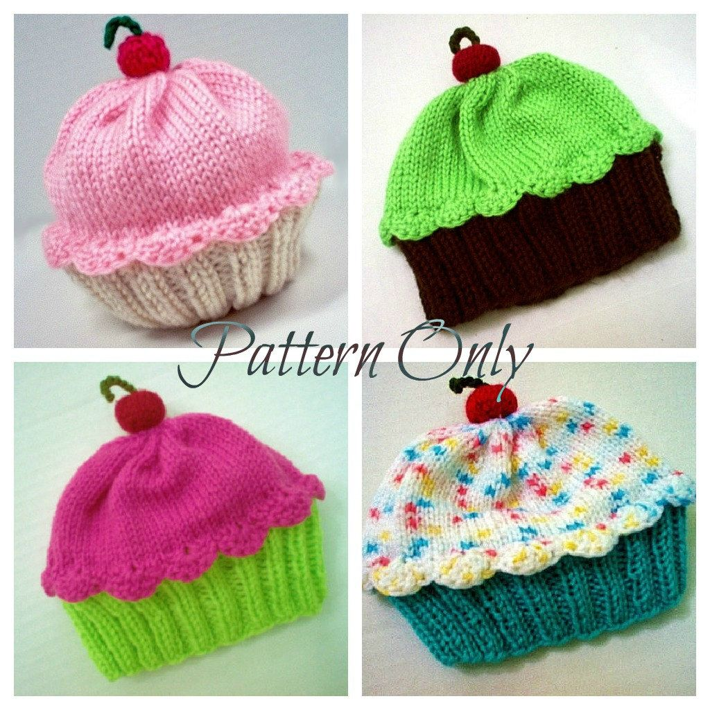 Knitting Pattern Cupcake Hat PDF INSTANT DOWNLOAD Cherry on Top diy ...