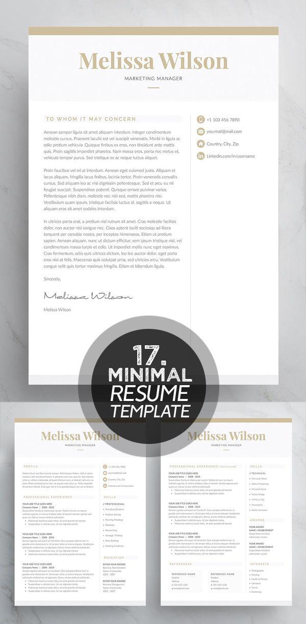 Word Resume  Cover Letter Template Design Pinterest Resume