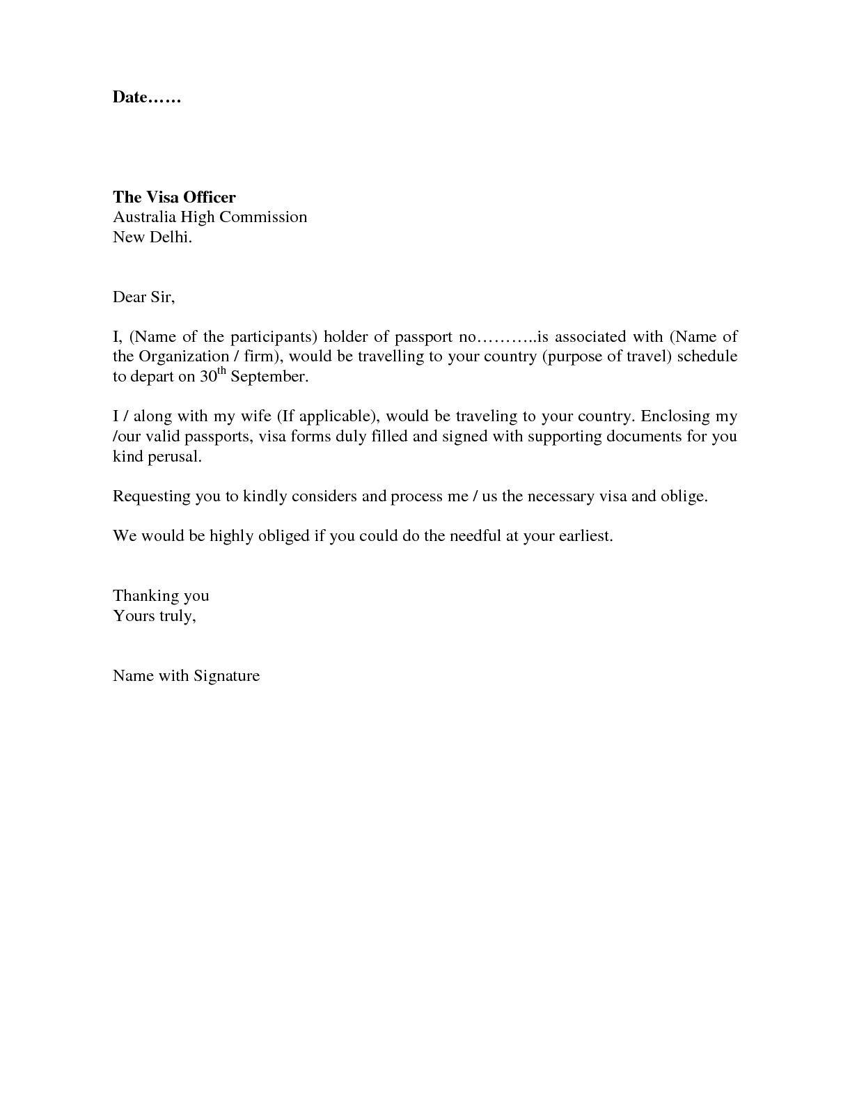 Cover Letter Template Visa Application | Cover Letter Template ...
