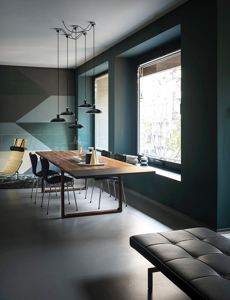 Arne Jacobsen Sjuan dining chairs, Poul Kjærholm chaise longue and daybed. / Pinterest