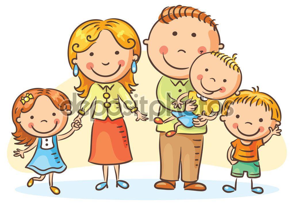 Familia Feliz Con Tres Hijos Ilustración De Stock 91448642