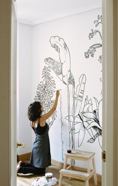 I Love The Idea Of Palm Tree Wallpaper Or Painted Outlines