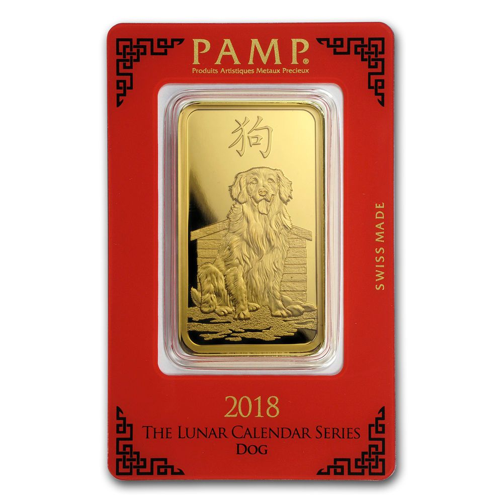 100 Gram Gold Bar Pamp Suisse Year Of The Dog In Assay Sku 154746 Gold Bar Gold Bars For Sale Gold Money