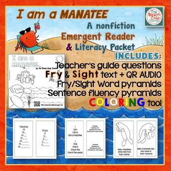 Emergent Reader + Fry & Sight Word Literacy Packet Print & Sprint! This 17 page resource is great for your preschool, Kindergarten, and 1st grade classroom or homeschool emergent reader students! Learn all about manatees with this simple, 8 page non-fiction (or informational text) to reinforce Fry sight words. Includes a teacher guide, 8 page reader, QR code link, sentence fluency pyramids, Fry sight words, coloring pages, and an easy printing format! Click through now for all the details!