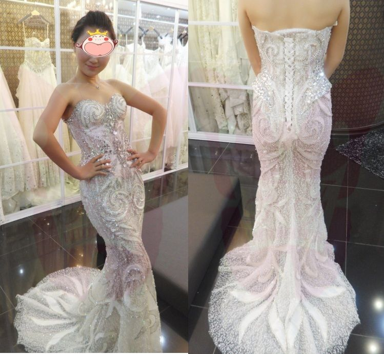 Mermaid Wedding dress 2014 sexy rhinestone wedding dress in stock ...