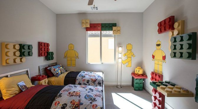 Lego themed contemporary kids' room