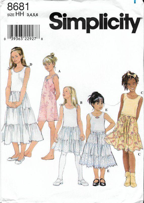 Simplicity 8681 Childrens Girls Camisole Slip Sewing Pattern Uncut ...