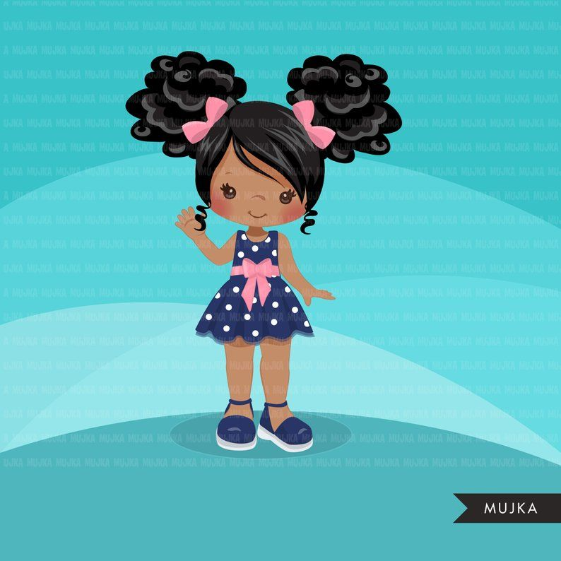 Little Girl Cute Outfits Clipart Girls With Polka Dot Dress