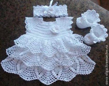 Hermoso Ajuar Tejido A Crochet Vestidos Para Bebé De