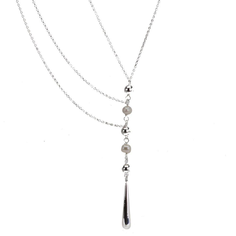 4d6a85e0d81d Collar Largo de Plata .925 con Perlas Multi- Cadenas Con Aretes Modelo P001  – 5