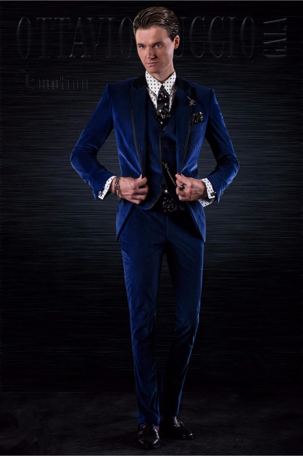 2018 Latest Coat Pant Designs Blue Velvet Suit Men Italian Slim Fit Tuxedo  Prom Blazer Wedding