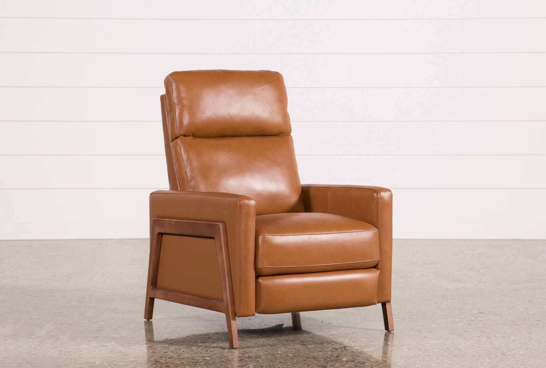 Daniel Nutmeg Leather Pressback Recliner Recliner Leather Recliner Modern Seat Cushions