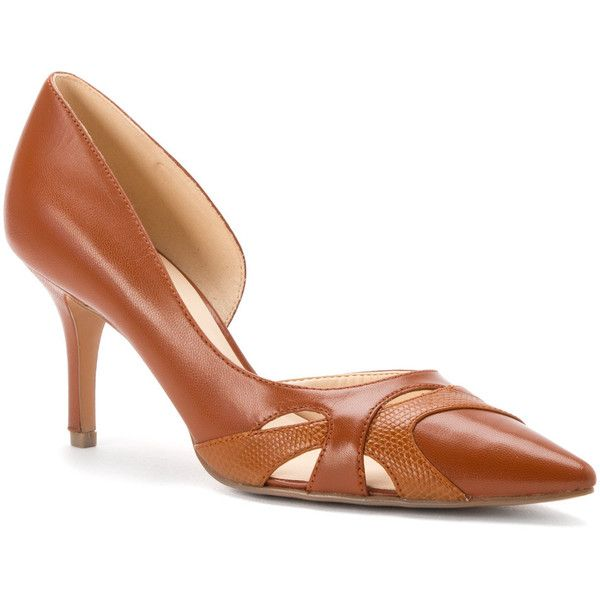 NINE WEST Women's Kismet Pumps (110 CAD) ❤ liked on Polyvore featuring shoes, pumps, tan leather, tan pointed toe pumps, pointy-toe pumps, dress shoes, tan shoes and leather dress shoes