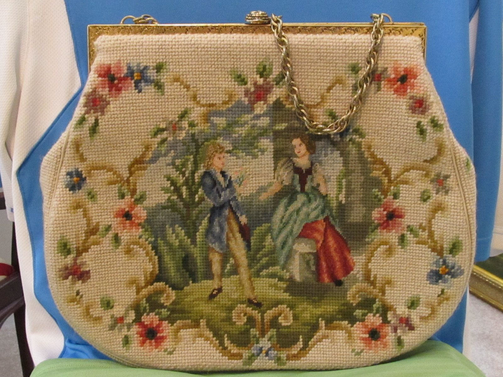 Needlepoint and Petitpoint Large Bag Gold Clasp Handle French by Kurt Chambre | eBay