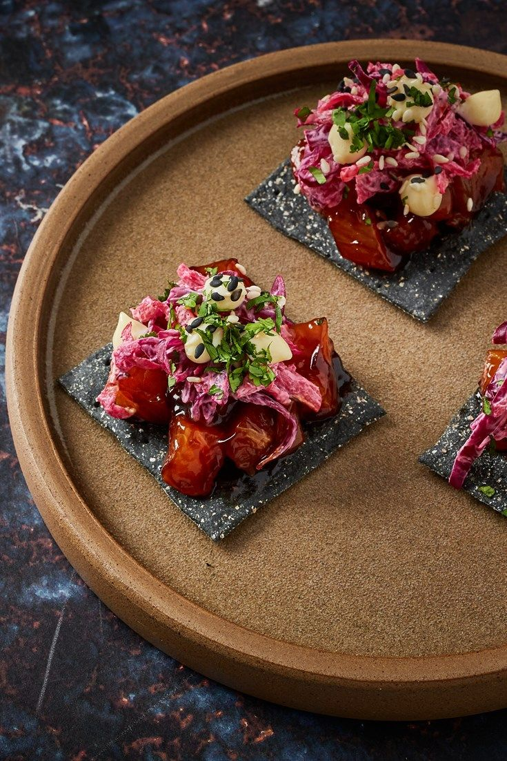 Teriyaki-cured salmon, winter slaw and horseradish crispbreads #teriyakisalmon