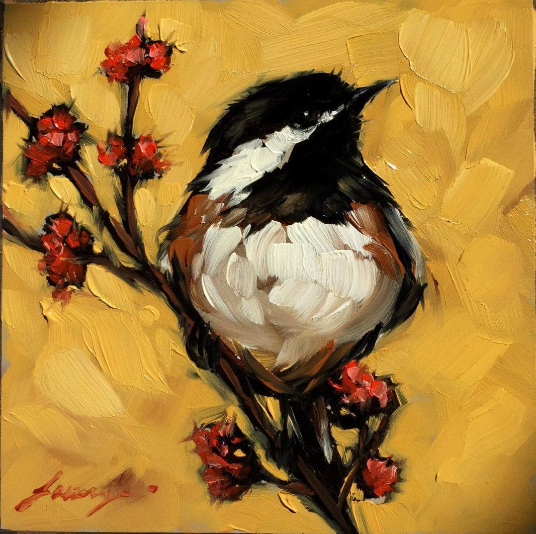 "Chickadee painting, Original impressionistic oil painting of a Chickadee, 4x4"" on panel, bird art, flowers, birds by LaveryART on Etsy"