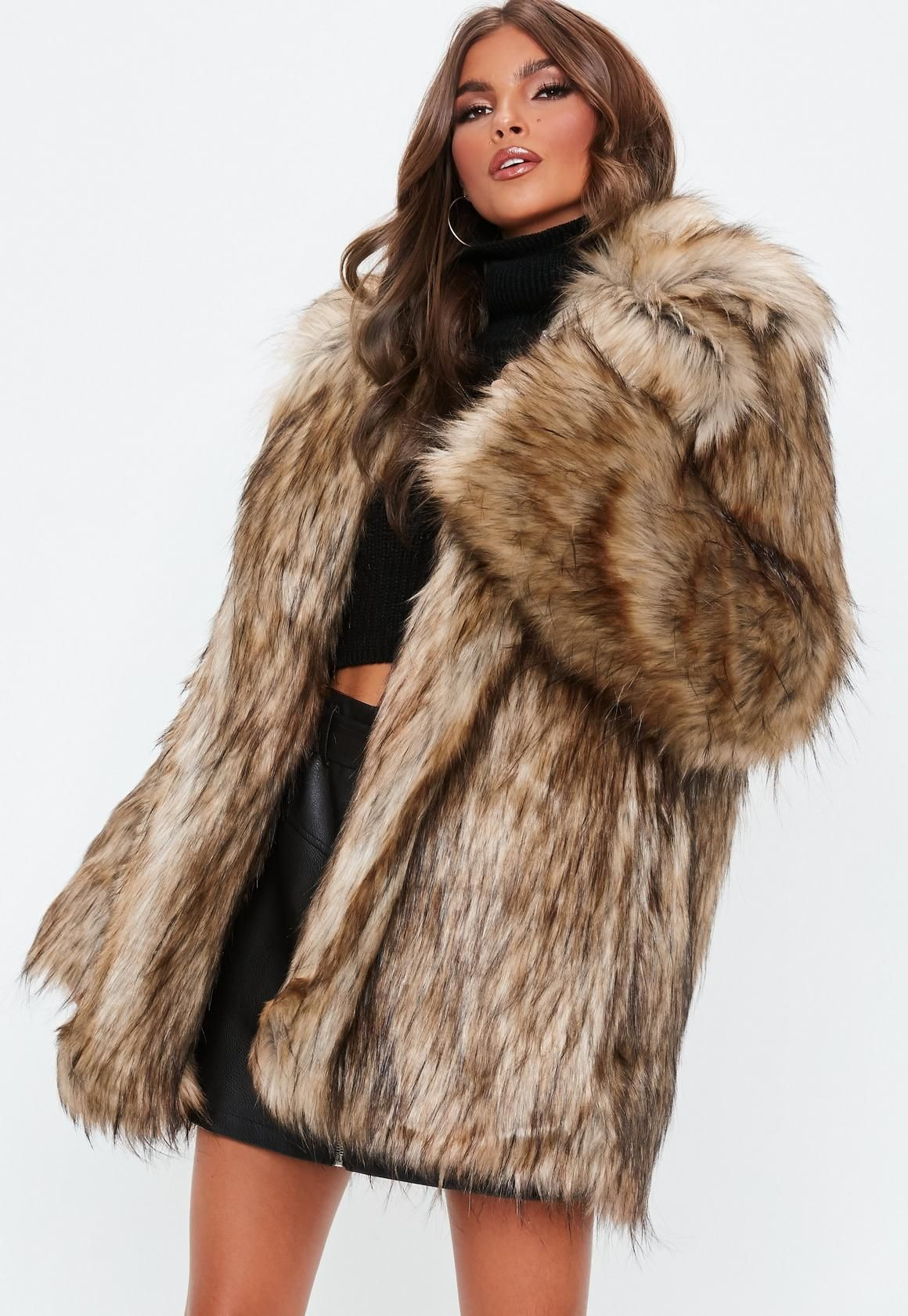 Missguided Brown Faux Fur Collared Coat Brown Faux Fur Coat Coat Faux Fur Collar Coat