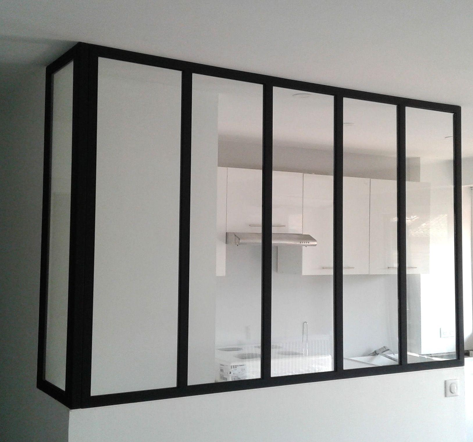 Verrière Du0027angle Entre Cuisine Et Salon. Couleur Noir RAL 9005 Mat Beau
