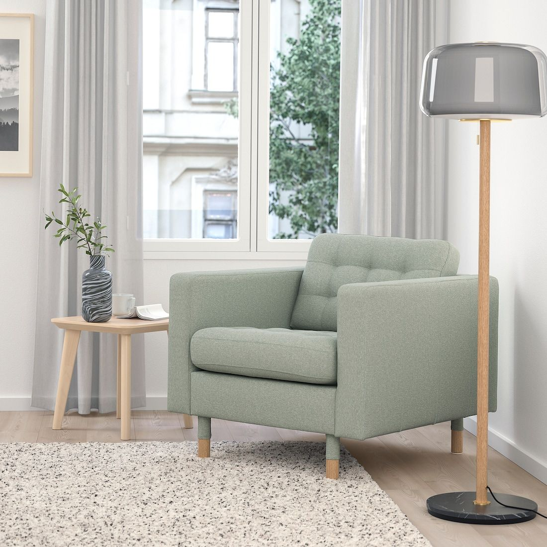 MORABO Armchair, Gunnared light green, Width 35 7/8
