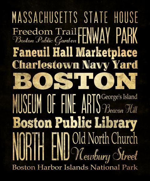 Items Similar To Boston, Massachusetts, Typography Art Canvas / Bus /  Transit / Subway Roll Art 20X24   Bostonu0027s Attractions Wall Art Decoration    LHA 17 On ...