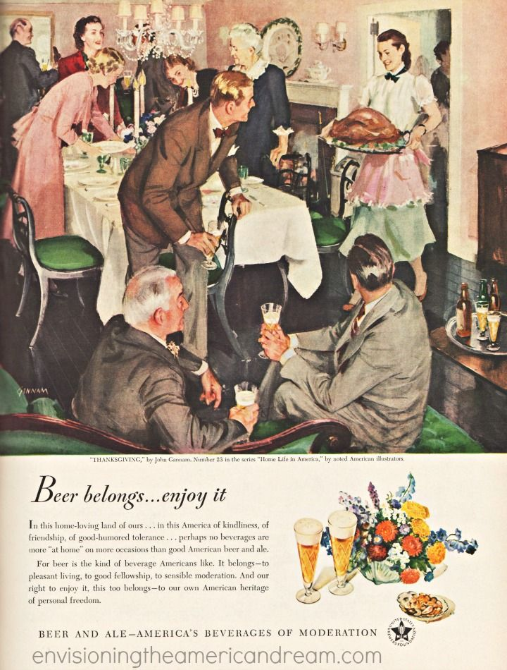Thanksgiving Illustration By John Gannam 1948 Vintage Ad Beer Belongs