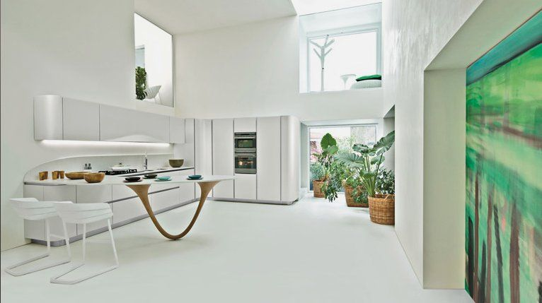 Modern and Beautiful Kitchen with Sculptural Countertop