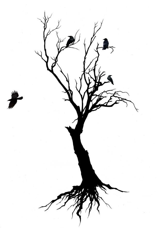 mod le de tatouage d 39 un arbre mort avec des corbeaux. Black Bedroom Furniture Sets. Home Design Ideas