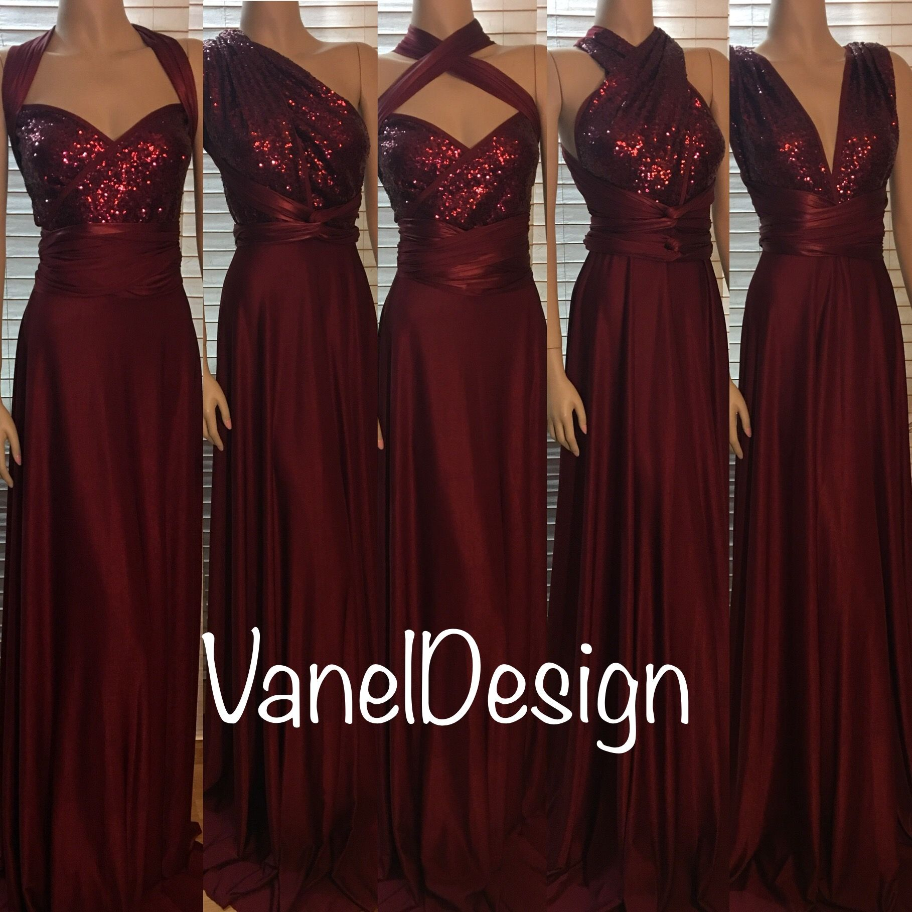 Sequins Bridesmaids Dress Burgundy Convertible Infinity Wrap Handmade By Vaneldesign On Etsy Questions 818 404 4904
