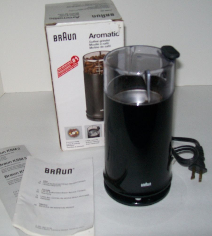 Braun Aromatic Electric Coffee Grinder Spices Nut Ksm2 Black In Box Free Ship #braun Cafe
