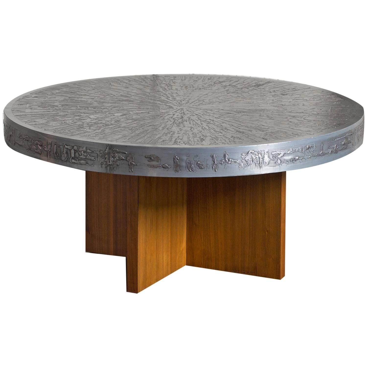 1960s Belgian Round Coffee Table With Embossed Graphic Top Coffee Table Round Coffee Table Table [ 1500 x 1500 Pixel ]