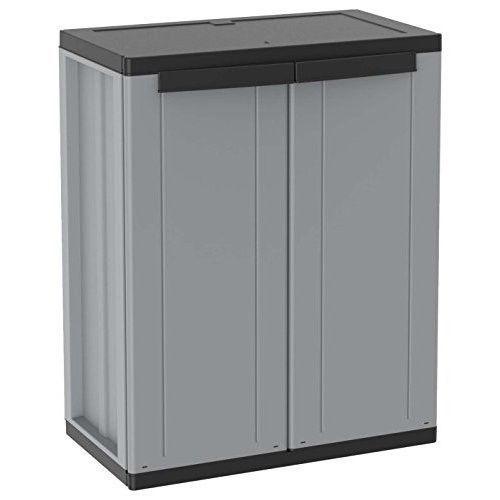 Plastic Garden Storage Cabinet Outdoor Indoor Floorstanding 1 Shelf Hinged Door Plasticgardenstoragecabinet