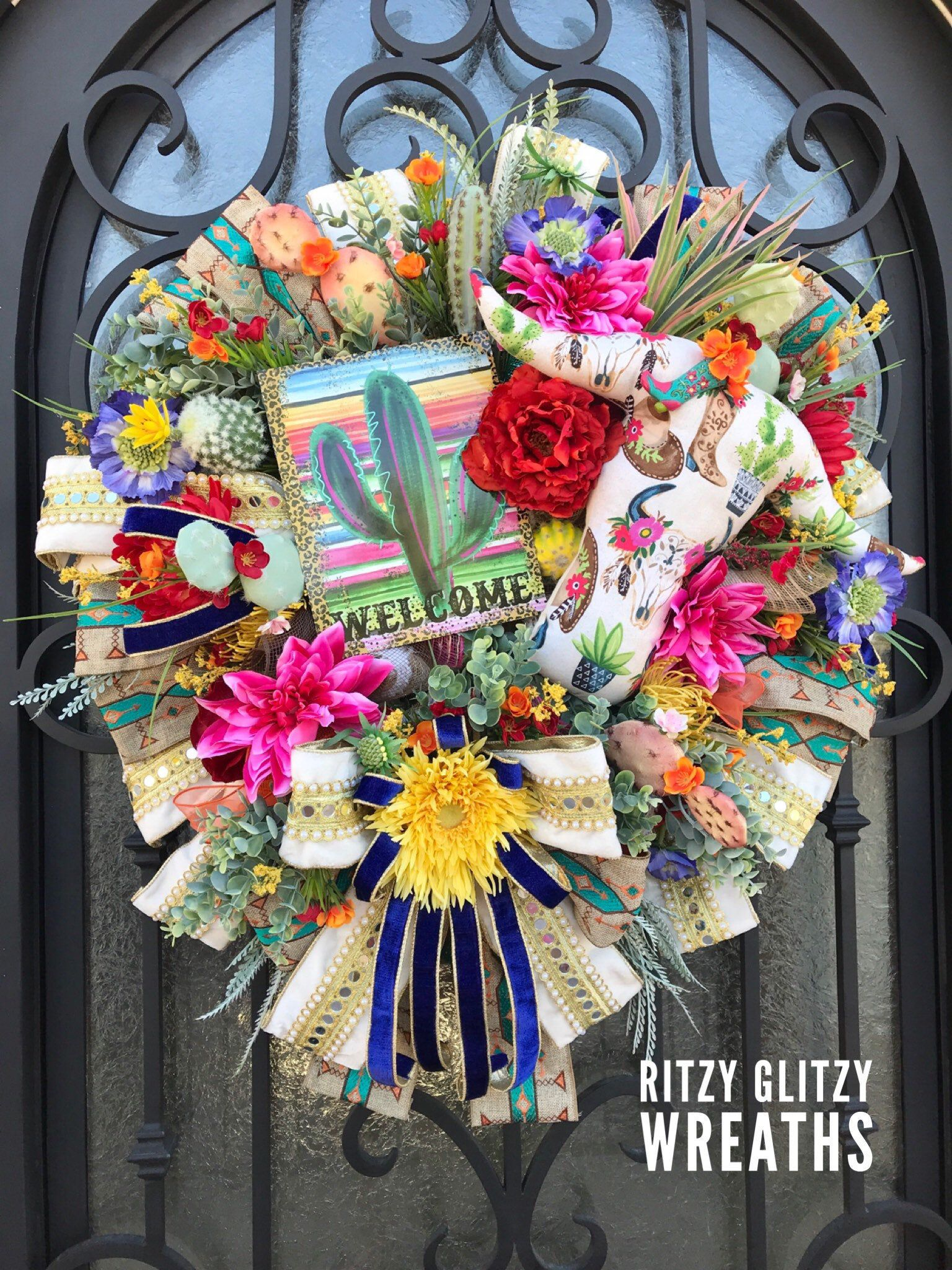 Photo of Southwest Wreath, Summer Wreath, Succulent Wreath, XL Luxury Wreath, Front Door Wreath, Southwest Decor, Wreaths, Summer Decor