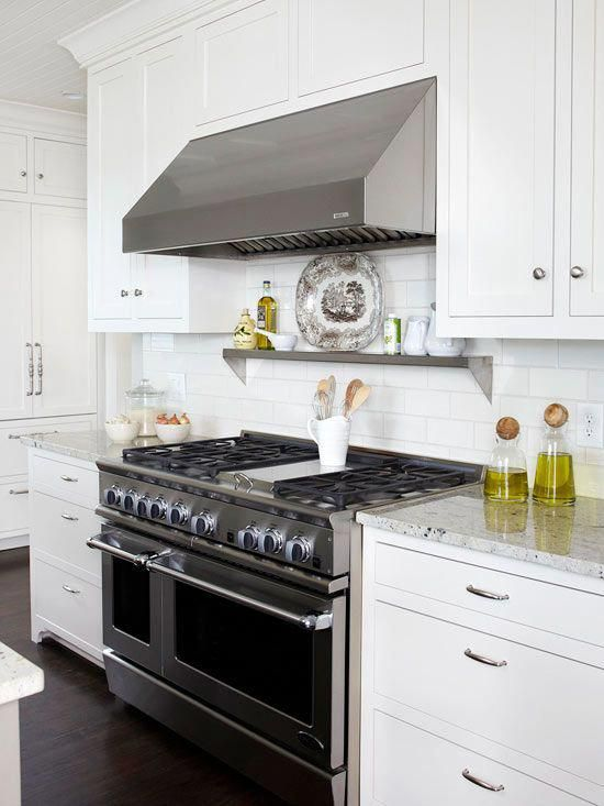 Like the metal shelf above the stove - should do that to ...
