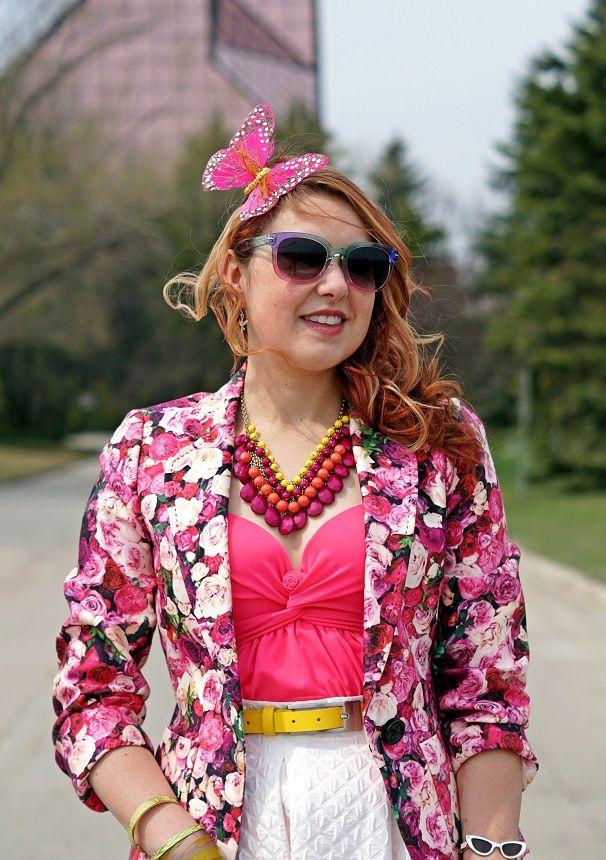 5b8b2868 Winnipeg Fashion Stylist Consultant Blog, Kate Spade Millie rose print  blazer, Vedette Shapewear Marlene shaping pink swimsuit, Kate Spade New  York In the ...