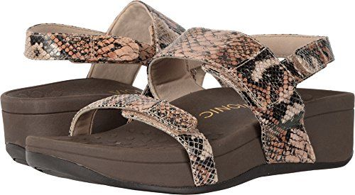 a28412edacd9 Vionic Womens Pacific Bolinas Backstrap Wedge Sandal Tan Snake Size 10      For more information