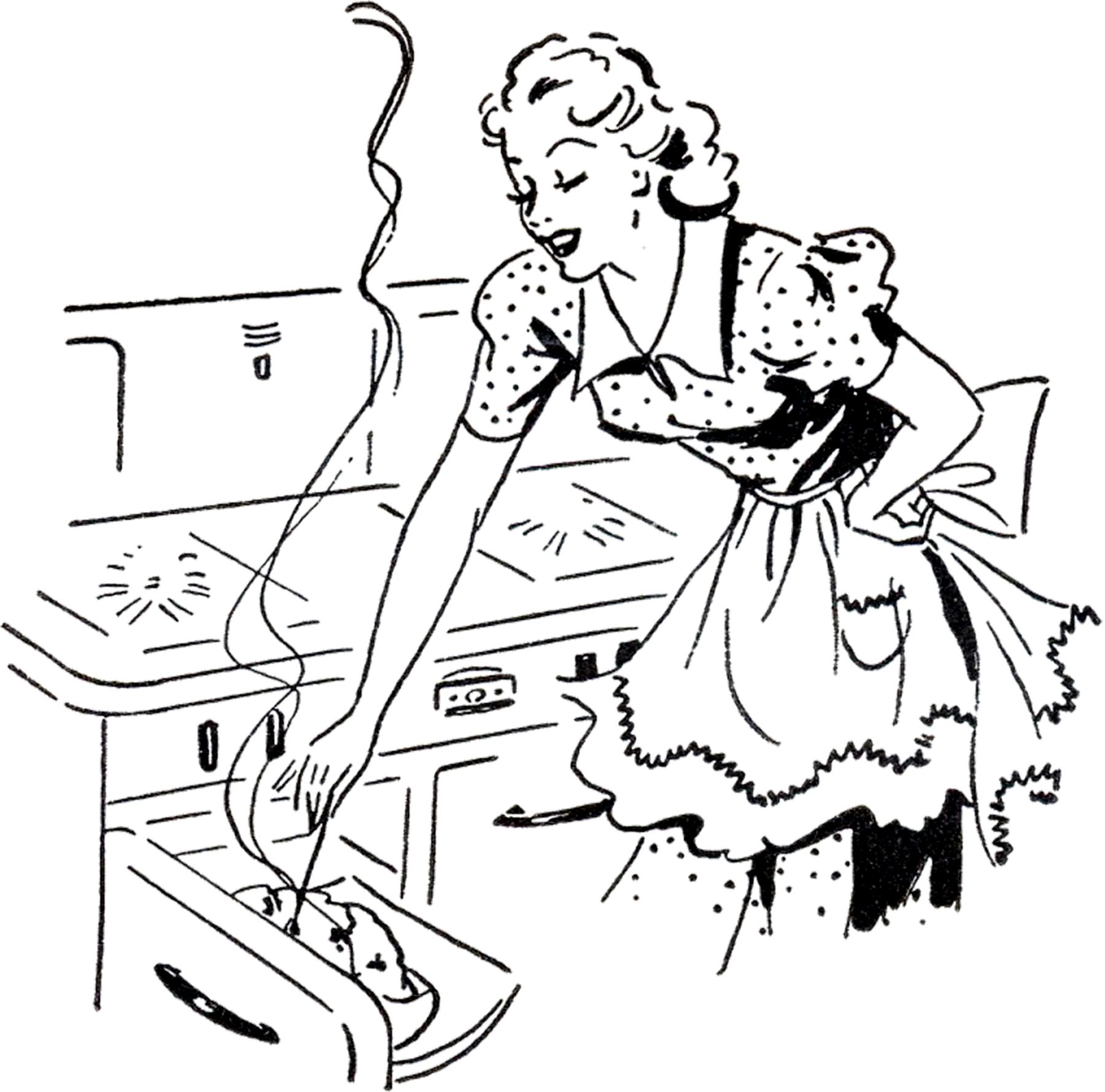 Adorable Retro Cooking Mom Image | Kitchening | Graphics ...