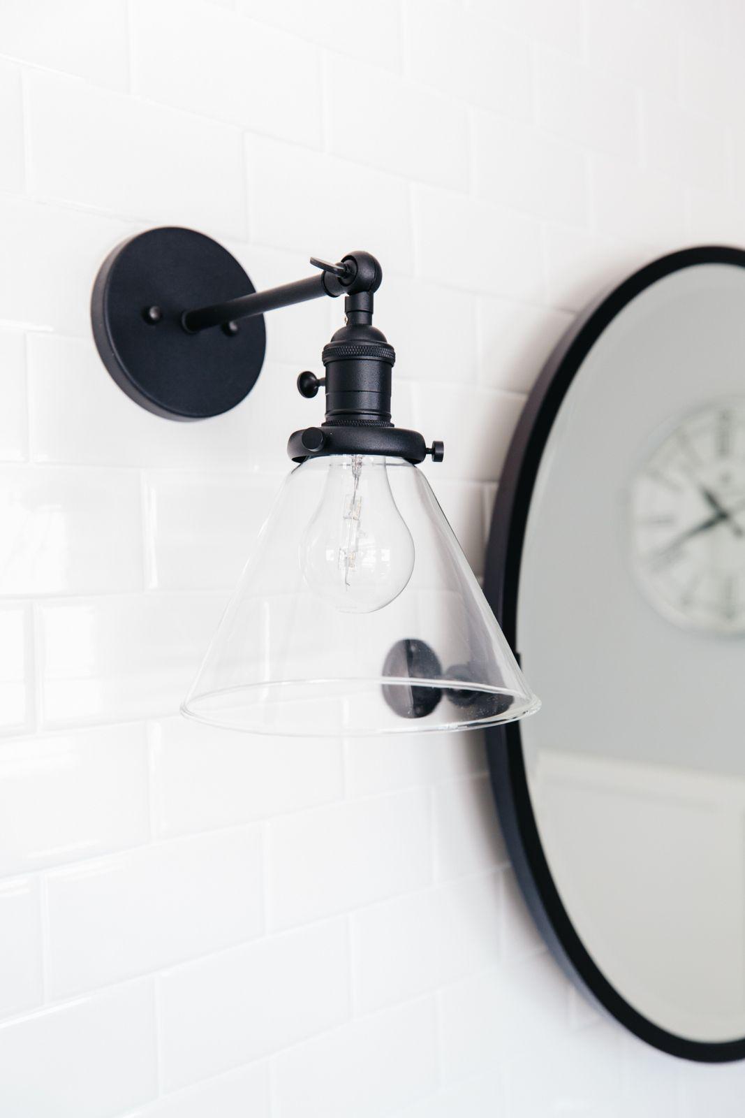 Master Bathroom Reveal Our Home Remodel The Tomkat Studio Blog Bathroom Sconces Bathroom Sconce Lighting Black Sconces