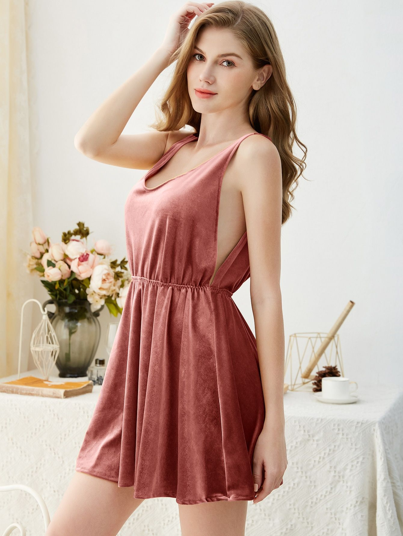 Ad Velvet Night Dress Tags Elegant Pink Plain Scoop Neck Nightgowns Sleeveless 95 Polyester 5 Spandex Velv Night Dress Dresses Ladies Mini Dresses