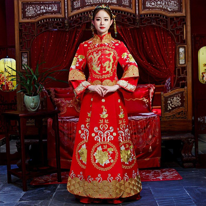 218111c7bf3bf Vintage Rhinestone Formal Qipao Traditional National Style Wedding ...