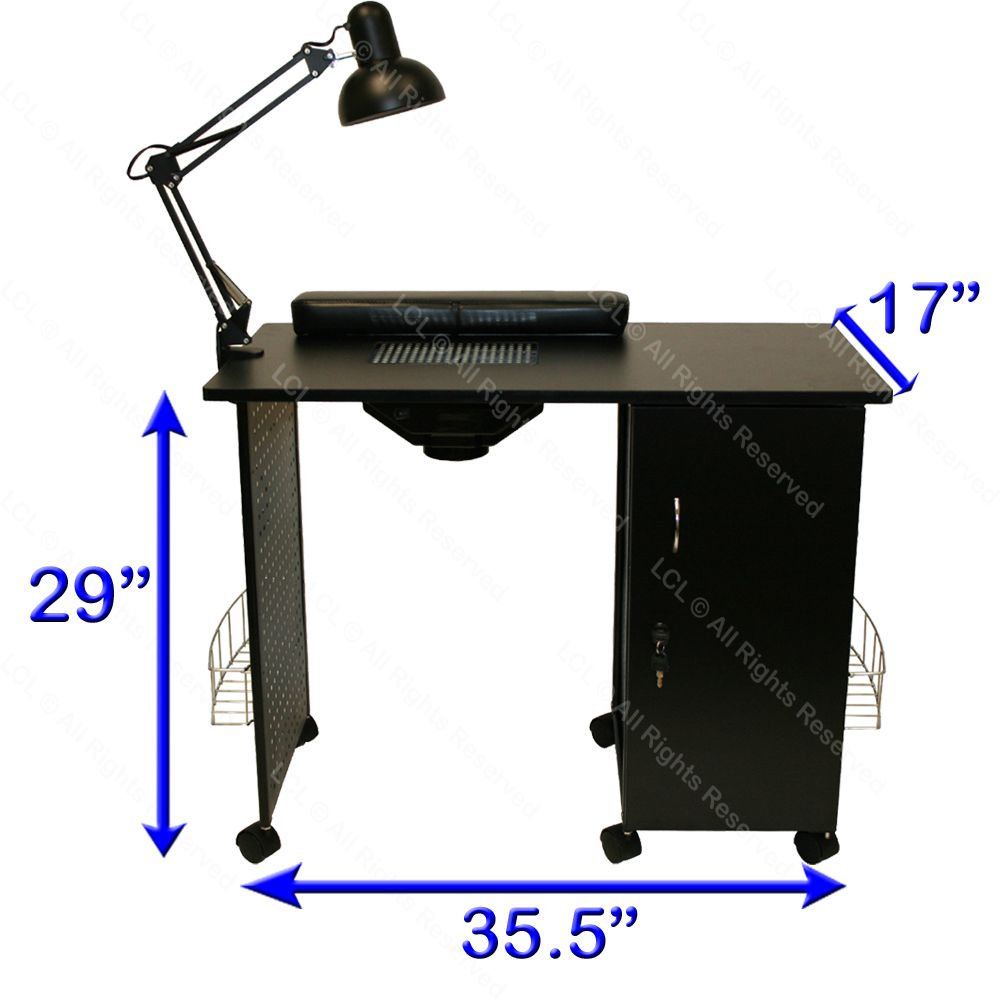 Black Steel Frame Vented Manicure Nail Table Desk Station