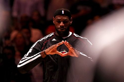 LeBron James of the Miami Heat reacts during the national anthem before taking on the San Antonio Spurs during Game Four of the 2013 NBA Finals at the ATT Center on June 13, 2013 in San Antonio, Texas.