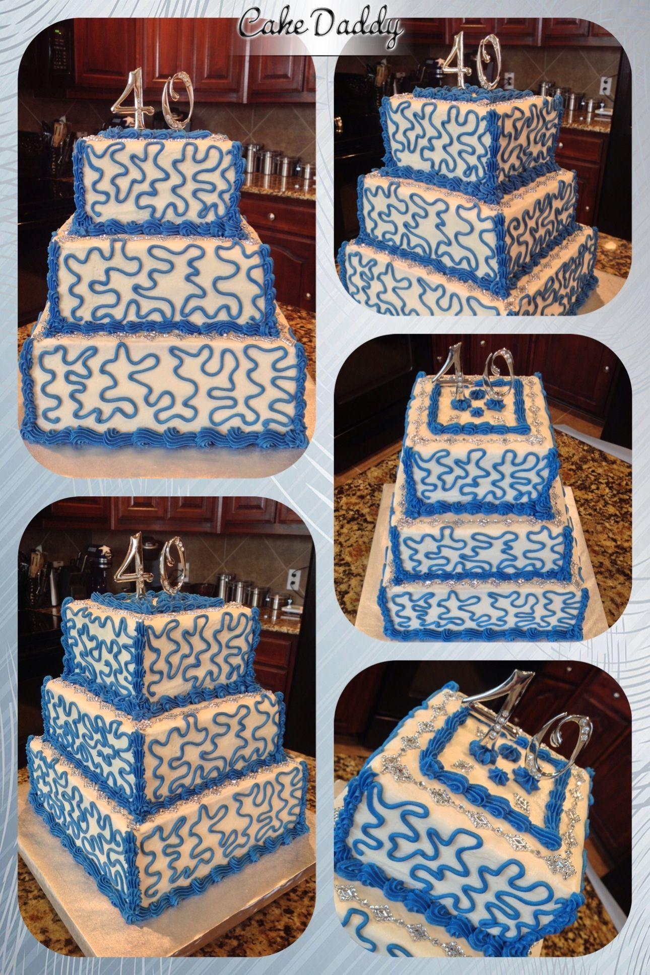 Custom Designed Bling And Squiggly Line Birthday Cake Custom