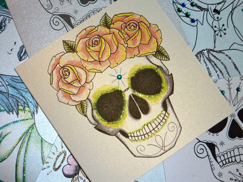 Rose Crown Sugar Skull Tattoo Day Of The Dead Handmade Card