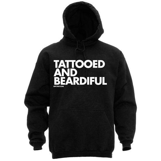 "Men's ""Tattooed and Beardiful"" Pullover Hoodie by Dpcted Apparel (Black) #inked #inkedshop #tattoo #beautiful #hoodie #beard #mens #black"
