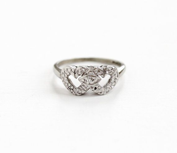 Sale Vintage 10k White Gold Double Heart Diamond Ring 1940s