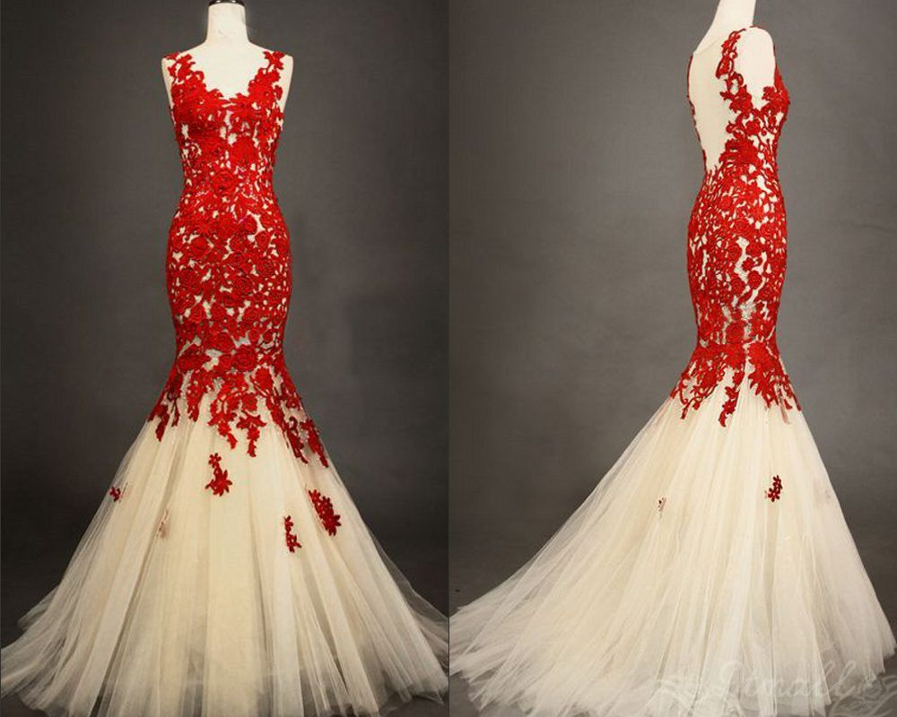 Click To Buy Real Photo Custom Made Party Gowns Hand Made Lace Applique Long Tulle Mermaid Prom Red Wedding Dresses Red Lace Dress Trendy Wedding Dresses [ 800 x 1000 Pixel ]