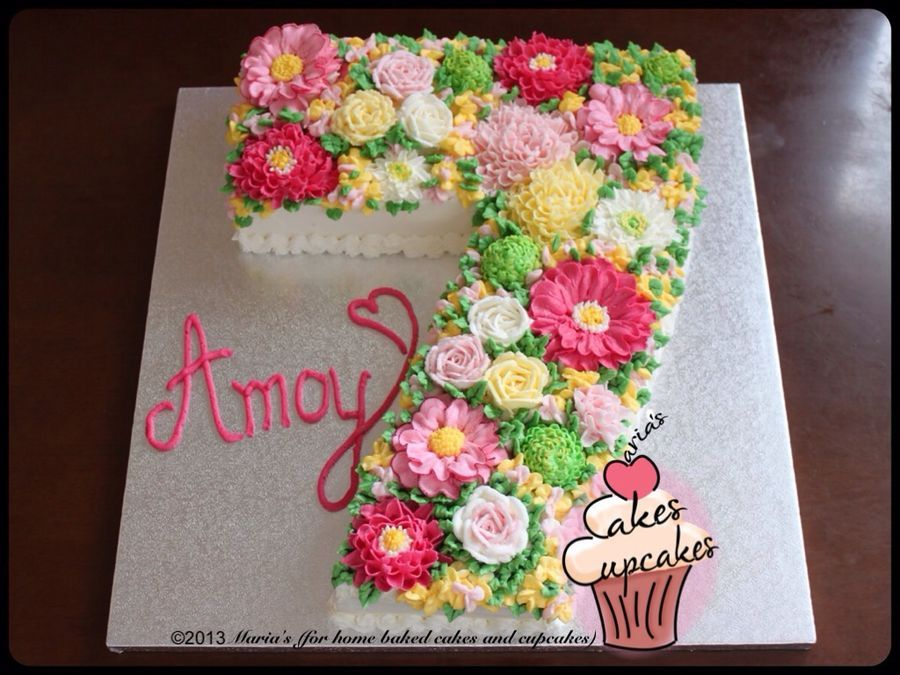 Gorgeous Butter Cream Frosted Number Cake Cupcake Cakes Cake Floral Cake