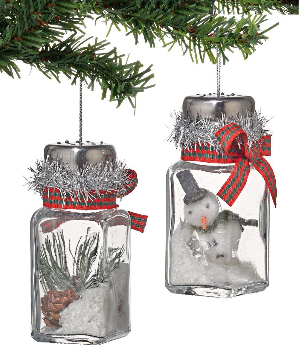 Winters Lodge Salt Shaker Ornament Set Christmas